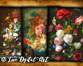 Instant download card making, Antique Still Life painting, digital collage sheet, greeting cards, gift tags printable images, scrapbooking