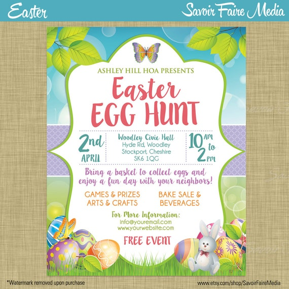 Easter Egg Hunt Flyer Invitation Poster / Template Church