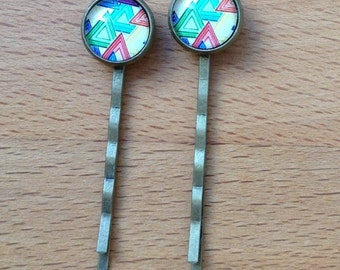 Antique brass bronze abstract triangle hair pins