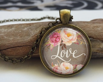 LOVE art Necklace, Love word Pendant, Inspirational art Jewelry. Valentine's day gift (inspirational word #6)