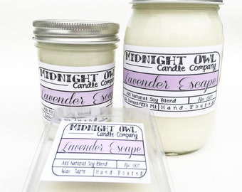 Lavender Escape 8oz or 16oz Mason Jar Candle - scented soy candles, mason jar, Midnight Owl Candle Co.