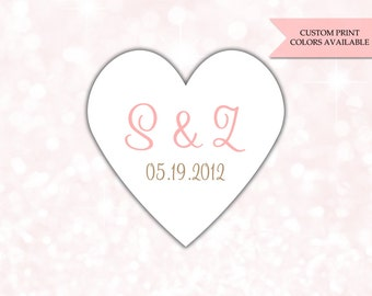 Initial stickers (24) - Save the date stickers - Heart stickers - Wedding envelope seals - Save the date label - Heart labels (HW002)