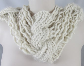 White Alpaca Cabled Cowl