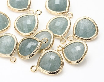Palace Green Jade Stone Pendant(Small) Polished Gold -Plated - 2 Pieces <G0008A-PGPG>