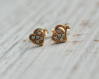 14K Gold Heart Earrings Studs, Handmade Earrings, Shiny Zirkons Earrings, Earrings for her