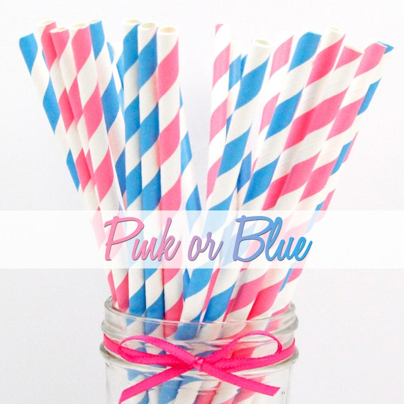 PINK & BLUE COMBO- Pink and Blue Combo Striped Paper Straws - Party Paper Straws - Wedding - Birthday Decorations