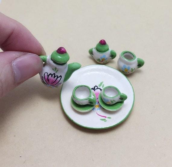 Miniature Tea Set,Miniature Green English Tea Set,Miniature Coffee Set,Miniature Handmade,Dolls House,Clay Tea Set,Hand Painted,Gift