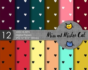 "Digital papers, Scrapbook papers, commercial use, background in Jpg. 1 Pack of 12 papers model ""Mini Hearts""."