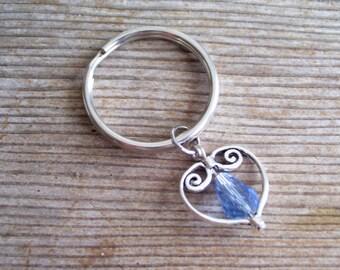 Heart Keychain, Light Blue Bead Silver Heart Key Chain, Sweetheart Keychain, Filigree Heart Charm, Silver Heart Key Ring