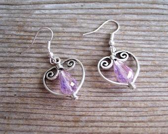 Iridescent Pink Silver Heart Earrings, Filigree Silver Heart Earrings, Bridal Earrings, Sweetheart Jewelry, Silver Red  Earrings