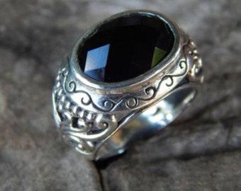 Silver ring motifs carved black onyx stone patra oval checkerboard