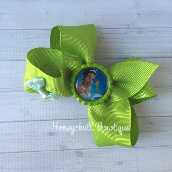 Princess Tiana Hair: Princess Tiana Bow Hair Clip Green Princess By