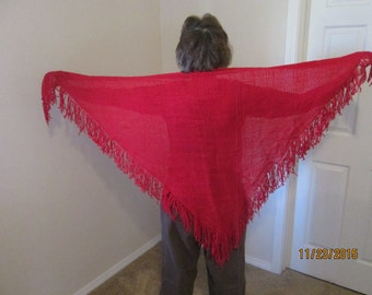 Red hand woven triangular shawl