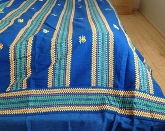 Vintage cotton bed spread by Indiska Bazaar magasinet Blue woven blanket Large Indian table cloth Large Throw Blanket
