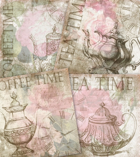 Digital Collage Sheet Coffee And Tea Coaster Tiles