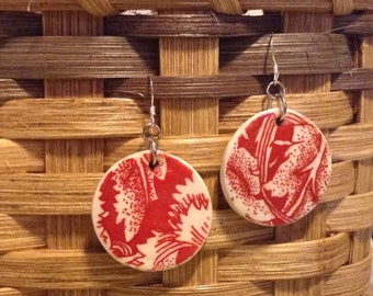Red Flora Disk Clay Earrings