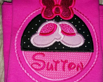 Mickey Minnie Mouse Inspired Personalized Shirt Bow and Shoes Boutique Birthday Party T-Shirt Girl Outfit! Sizes  2 ,3, 4, 5, 6, 7, 8, 10 12