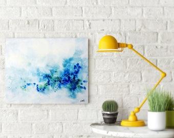 Blue and Green, Watercolor Print, Canvas Art, Abstract Art, Blue Watercolor,Abstract Art, Canvas Print, Ocean, Home Decor, Wall Decor.