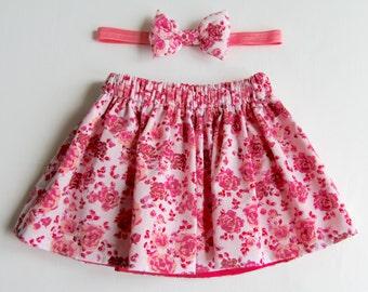 Floral Skirt, Girl's Skirt, Hot Pink Skirt, Pink Girl's Skirt, Baby Skirt, Toddler Skirt, Skirt Set, Hot Pink Baby Skirt, Girls Floral Skirt