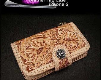Leather iPhone 6 Flip Case  Metal Concho K01C96