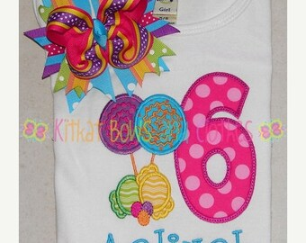 O SALE Candyland Birthday Applique Shirt and Matching Hairbow - Candy - Lollipop - Gumdrops