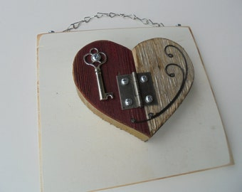 Recycled Heart Assemblage,OOAK Barn Wood Heart, Steampunk Heart, Industrial Decor, Home Decor,Folk Art Heart, Assemblage Art,Mixed Media Art