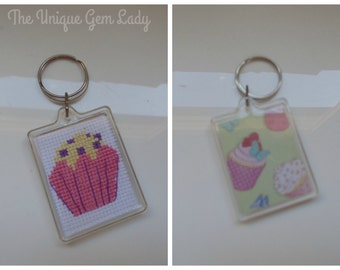 Hand Sewn Cross Stitch Cupcake Keyring Key Ring Bespoke Unique Gift