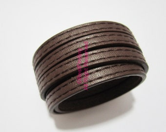 1meter 5x2mm Stitched brown leather cord 5mm Flat leather cord