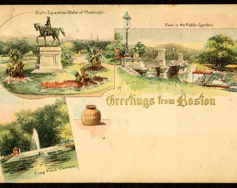 1905 Greetings From Boston Postcard, Duck Boats, Boston Common, Frog Pond Litho