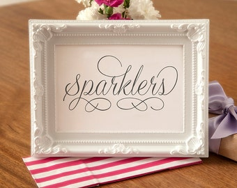 Sparklers Sign - Wedding Black and White Sign -  Wedding Reception Table Sign  (Without Frame) WED020