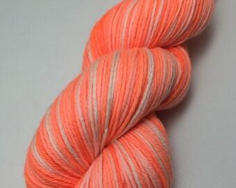 Hand dyed superwash merino Sport Weight yarn - Lush Peach