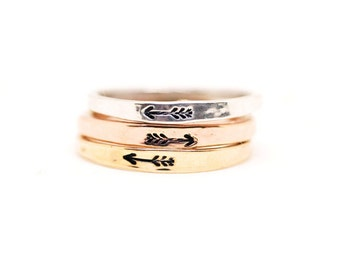 Arrow Ring, Simple Gold Band, Rose Gold Ring, Silver Ring, Stacked Rings, Stacking Ring Set, Wanderlust Ring, Friendship Ring