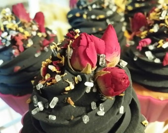 Charcoal Rose Cold process cupcake soap (Sold out)