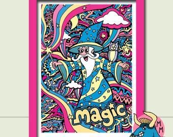 """Wizard Art Print. Merlin Art Print. A3 Art Print, 11x16"""", Fantasy Art, Wall Art, Fun Art, Kids Art, Childrens Art, Boys Gift, Nursery Art"""