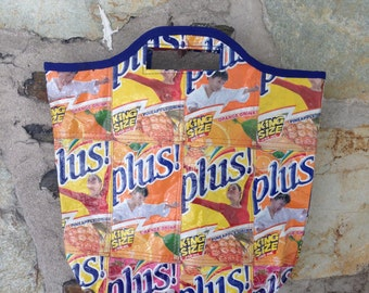 Recycled Drink Juice Box Tote Bag with Zipper Closure