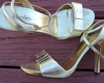 Size 7 1/2B, Charles David Gold Strappy Heels