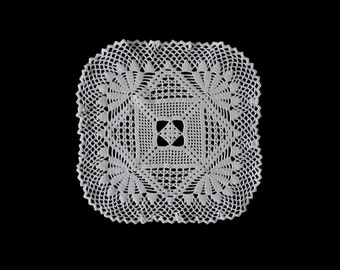 Vintage handmade crocheted doily -- white crocheted rounded square doily -- 9 inches / 23 cm