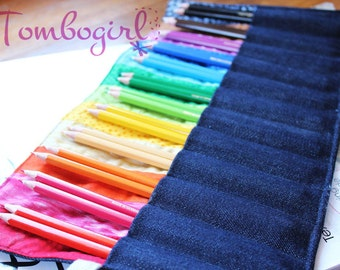 Rainbow Pencil Roll, Wide Pockets fit 24 Pencils, Personalised name applique, Back to school,  Australian made  – Blue Denim