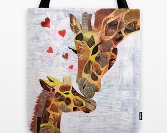 Giraffe Handbag, Canvas Tote Bag, Christmas gift ideas, Womens Totes, Shopping Tote Beach tote shopping bag, womens bag, giraffe art