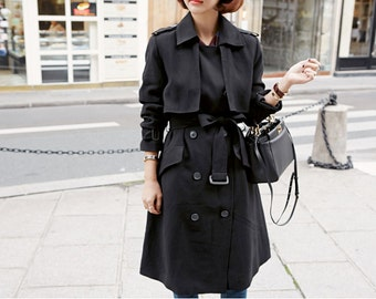 Black Trench Coat • Trench Coat Woman • Black Trenchcoat • Long Coat • Belted Coat • Double Breasted Coat • Womens Trench Coat • Peacoat