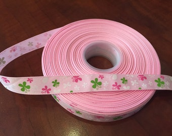 Pink with Butterflies Grosgrain Ribbon, 5/8 inch wide - purchase by the yard