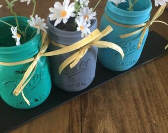 Canning Jar vases/ ball canning jar decor/ painted canning jars