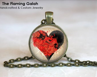 BLACK HEART Pendant •  Black and Red Heart •  Gothic Heart •  I Love You •  Valentines Gift • Gift Under 20 • Made in Australia (P0719)