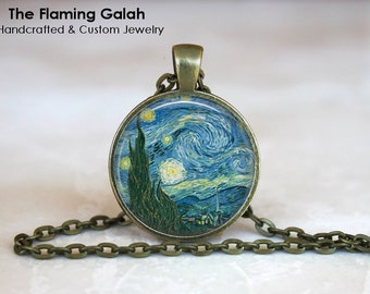 STARRY NIGHT Pendant • Vincent Van Gogh • Van Gogh Art • Moon and Stars • Van Gogh Charm • Gift Under 20 • Made in Australia (P0014)
