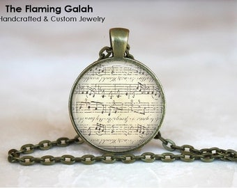 SHEET MUSIC Pendant •  Vintage Music •  Music Lover •  Music Student • Gift Under 20 • Made in Australia (P0916)