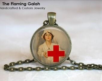 RED CROSS NURSE Pendant • Vintage Nurse • Nursing School Gift • Nursing Graduation • Gift Under 20 • Made in Australia (P1123)