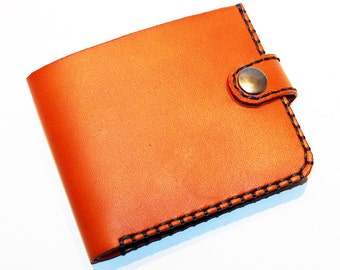 Leather wallet,orange wallet, great leather item, orange men's wallet, credit card wallet, gift for men.