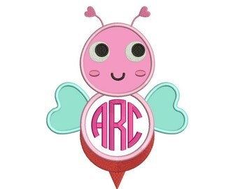 Monogrammed Bee Machine Embroidery Applique Design Digitized Pattern - Instant Download