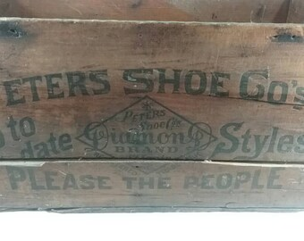 Vintage Peter's shoe company wooden shipping crate diamond brand please the people wood box