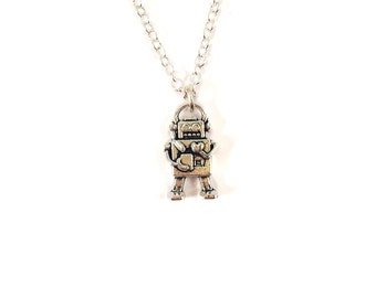 SALE - Robot Tiny Charm Necklace